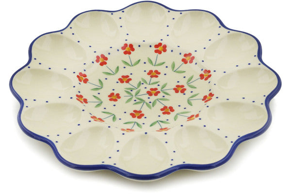 "Polish Pottery Egg Plate 10"" Red Primrose Theme"
