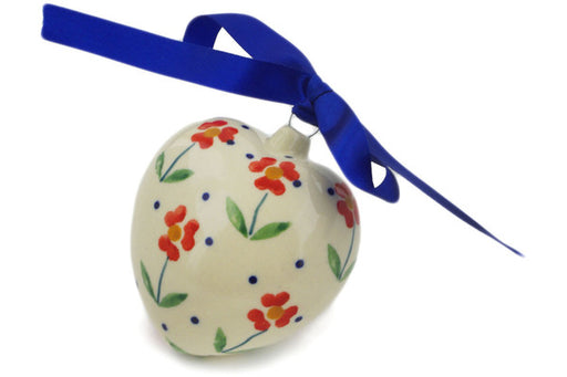 "Polish Pottery Ornament Heart 3"" Red Primrose Theme"