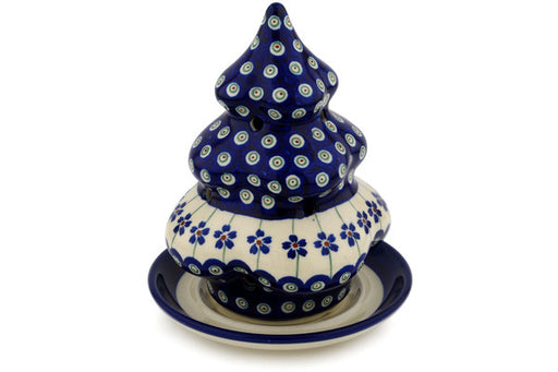 "Polish Pottery Christmas Tree Candle Holder 7"" Flowering Peacock Theme"