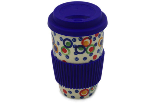 Polish Pottery Travel Coffee Mug Bubble Machine Theme UNIKAT