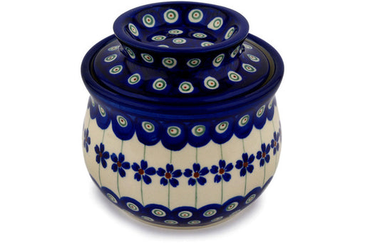 "Polish Pottery Butter Dish 4"" Flowering Peacock Theme"