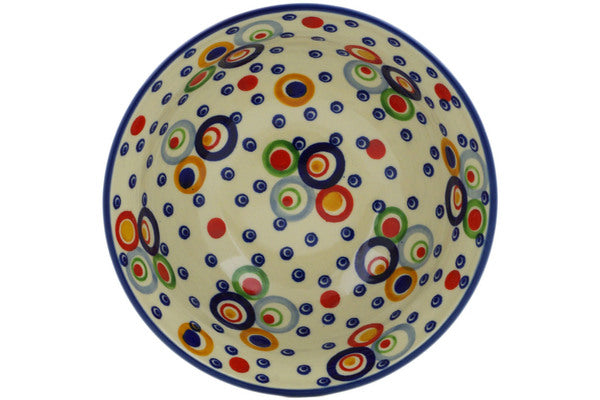 "Polish Pottery Bowl 7"" Bubble Machine Theme UNIKAT"