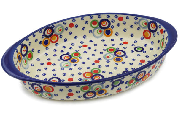 "Polish Pottery Oval Baker with Handles 12"" Bubble Machine Theme UNIKAT"