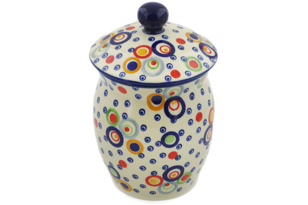 "Polish Pottery Jar with Lid 7"" Bubble Machine Theme UNIKAT"