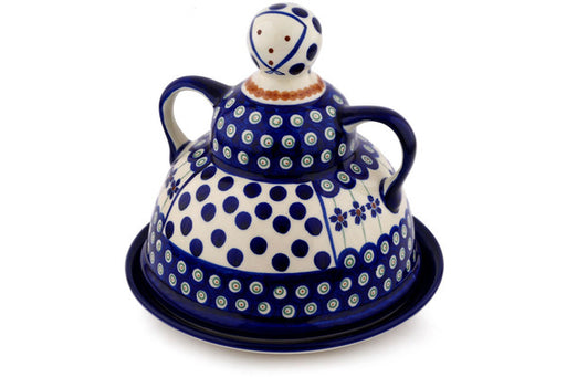 "Polish Pottery Cheese Lady 8"" Flowering Peacock Theme"