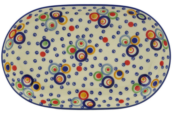 "Polish Pottery Platter 11"" Bubble Machine Theme UNIKAT"