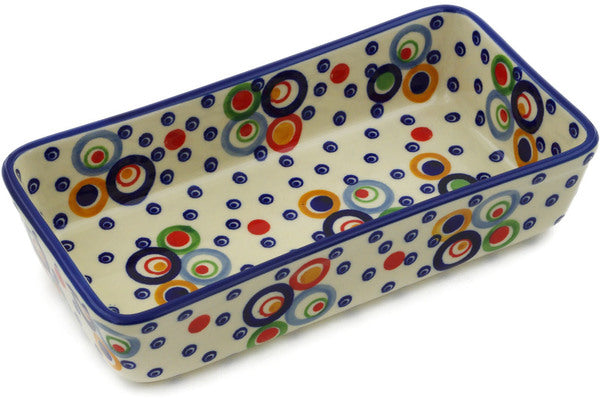 "Polish Pottery Rectangular Baker 8"" Bubble Machine Theme UNIKAT"