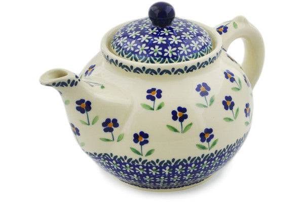 Polish Pottery Tea or Coffee Pot 47 oz Mariposa Lily Theme