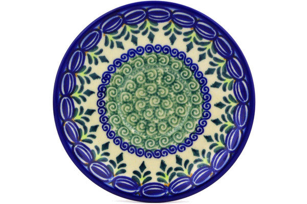 "Polish Pottery Saucer 5"" Ring Of Flowers Theme UNIKAT"