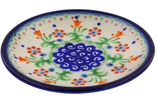 "Polish Pottery Saucer 5"" Spring Flowers Theme"