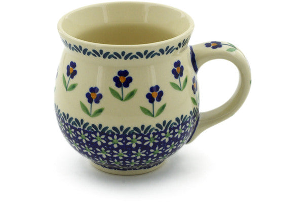 Polish Pottery Bubble Mug 19 oz Mariposa Lily Theme