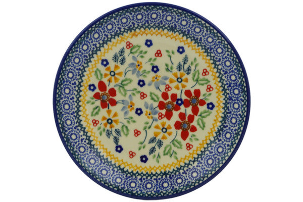 "Polish Pottery Plate 7"" Ruby Bouquet Theme UNIKAT"