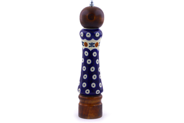 "Polish Pottery Pepper Grinder 8"" Mosquito Theme"