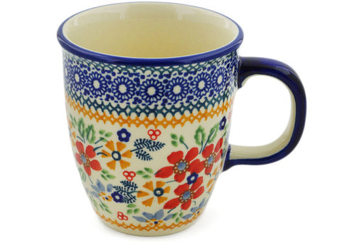 Polish Pottery Mug 10 oz Ruby Bouquet Theme UNIKAT