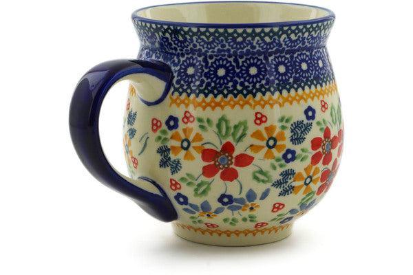 Polish Pottery Bubble Mug 19 oz Ruby Bouquet Theme UNIKAT
