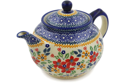 Polish Pottery Tea or Coffee Pot 30 oz Ruby Bouquet Theme UNIKAT