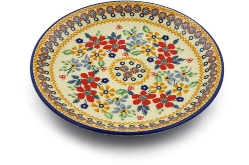 "Polish Pottery Plate 7"" Summer Bouquet Theme UNIKAT"