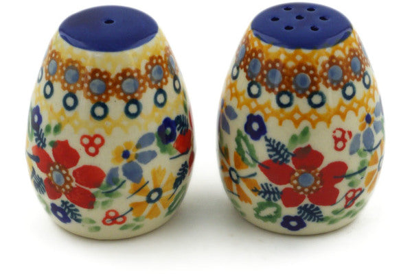 "Polish Pottery Salt and Pepper Set 2"" Summer Bouquet Theme UNIKAT"