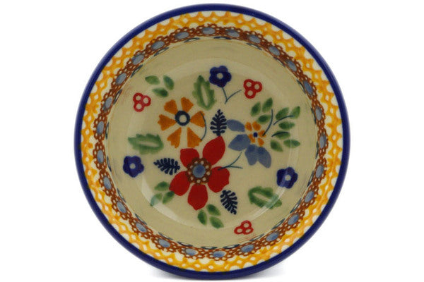 "Polish Pottery Bowl 3"" Summer Bouquet Theme UNIKAT"