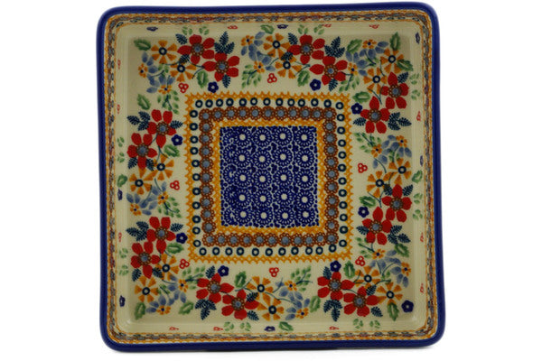 "Polish Pottery Square Bowl 8"" Summer Bouquet Theme UNIKAT"