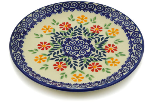 "Polish Pottery Plate 7"" Wave Of Flowers Theme"