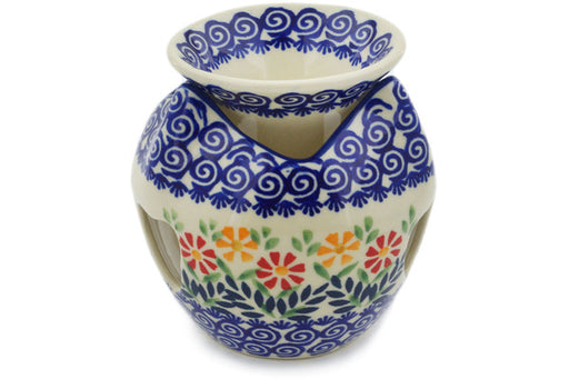"Polish Pottery Aroma Oil Burner 5"" Wave Of Flowers Theme"