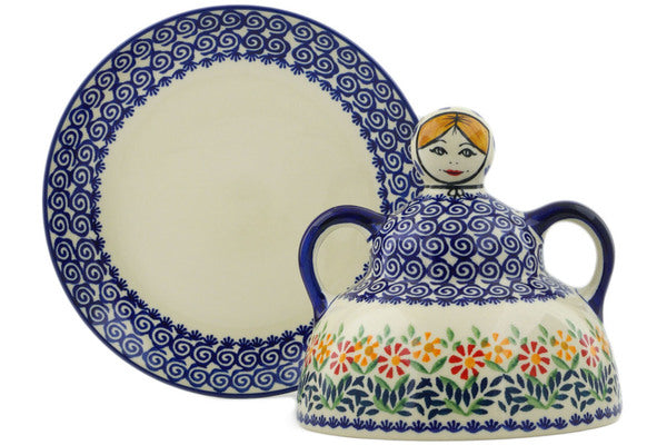 "Polish Pottery Cheese Lady 7"" Wave Of Flowers Theme"