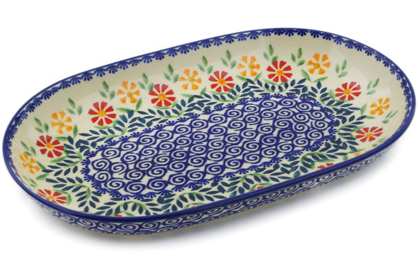 "Polish Pottery Platter 11"" Wave Of Flowers Theme"