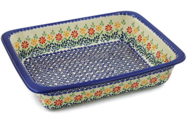 "Polish Pottery Rectangular Baker 14"" Wave Of Flowers Theme"