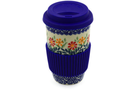 Polish Pottery Travel Coffee Mug Wave Of Flowers Theme