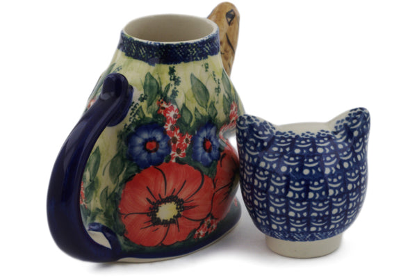 Polish Pottery Cat and Fish Creamer 17 oz The Meadow In The Early Morning Theme UNIKAT