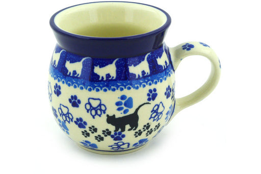 Polish Pottery Bubble Mug 8 oz Boo Boo Kitty Paws Theme