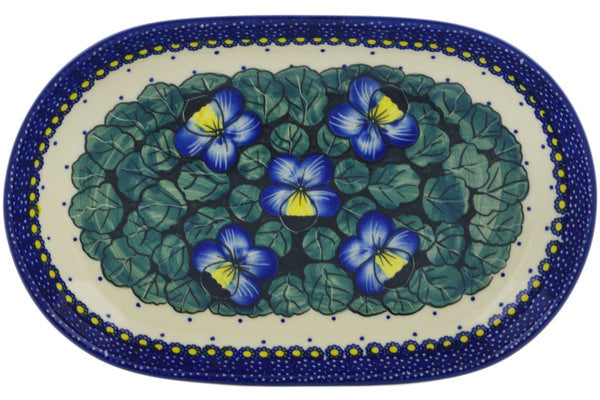 "Polish Pottery Platter 11"" Flower In The Grass Theme UNIKAT"
