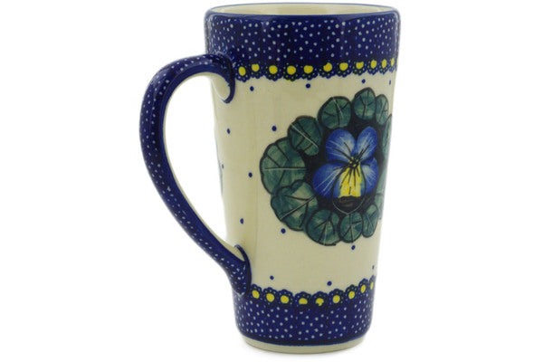 Polish Pottery Mug 13 oz Flower In The Grass Theme UNIKAT