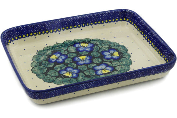 "Polish Pottery Rectangular Baker 12"" Flower In The Grass Theme UNIKAT"