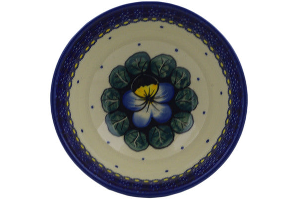 "Polish Pottery Bowl 6"" Flower In The Grass Theme UNIKAT"