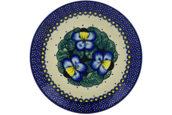 "Polish Pottery Plate 7"" Flower In The Grass Theme UNIKAT"