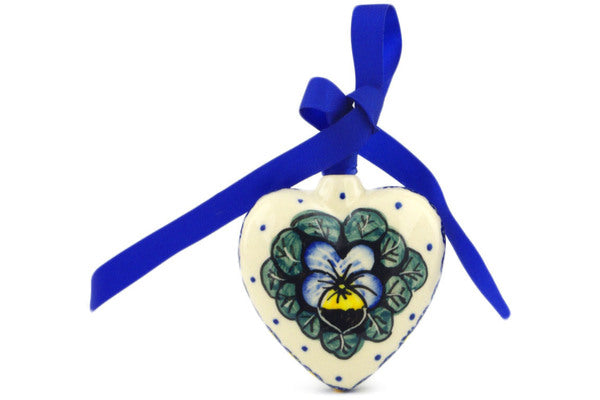 "Polish Pottery Ornament Heart 3"" Flower In The Grass Theme UNIKAT"