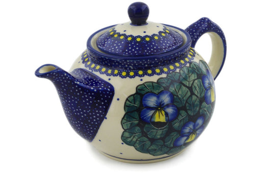 Polish Pottery Tea or Coffee Pot 30 oz Flower In The Grass Theme UNIKAT