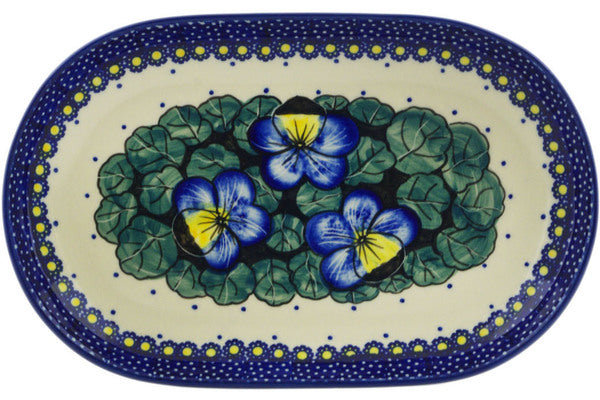 "Polish Pottery Platter 9"" Flower In The Grass Theme UNIKAT"