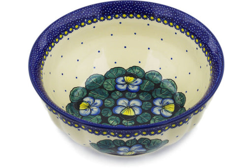 "Polish Pottery Bowl 9"" Flower In The Grass Theme UNIKAT"