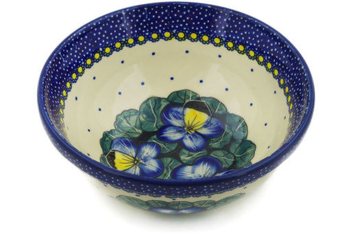 "Polish Pottery Bowl 7"" Flower In The Grass Theme UNIKAT"