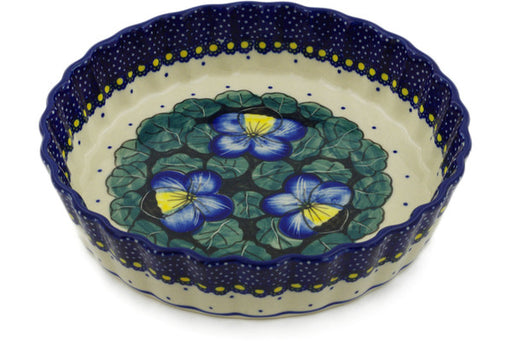 "Polish Pottery Pie Dish 8"" Flower In The Grass Theme UNIKAT"