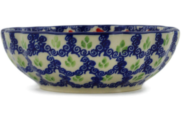"Polish Pottery Fluted Bowl 5"" Red Chains Theme UNIKAT"