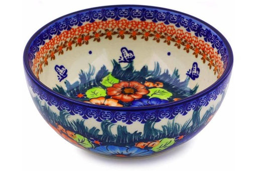 "Polish Pottery Bowl 7"" Butterfly Splendor Theme UNIKAT"