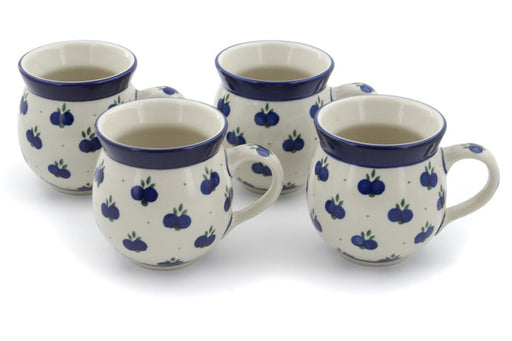 Polish Pottery Set of Four 12 oz Bubble Mugs Wild Blueberry Theme