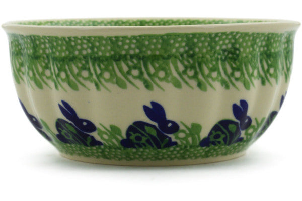 "Polish Pottery Bowl 7"" Hare In Tall Grass Theme"
