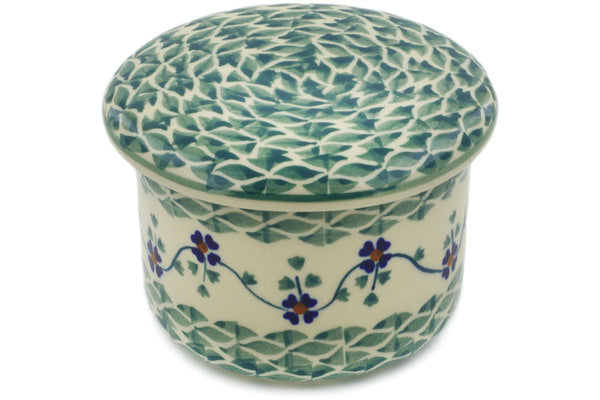 "Polish Pottery Butter Dish 5"" Lucky Blue Clover Theme"