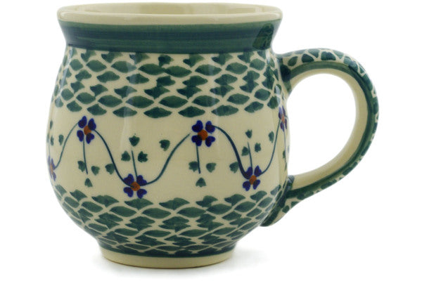 Polish Pottery Bubble Mug 19 oz Lucky Blue Clover Theme