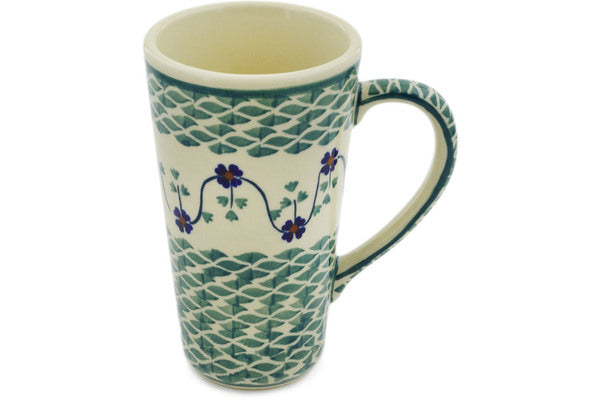 Polish Pottery Mug 13 oz Lucky Blue Clover Theme